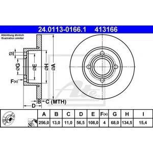 ATE 24.0113-0166.1 Тормозной диск Ауди 80
