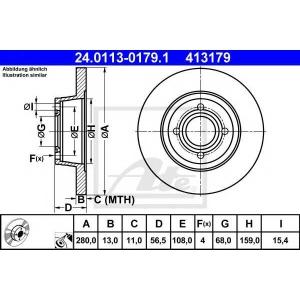 ATE 24.0113-0179.1 Тормозной диск Ауди 80