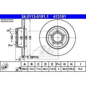 ATE 24.0113-0181.1 Тормозной диск Ауди А4