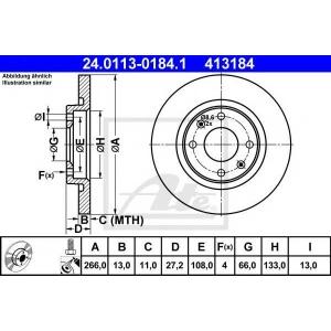 ATE 24.0113-0184.1 Тормозной диск Ситроен С Элизи