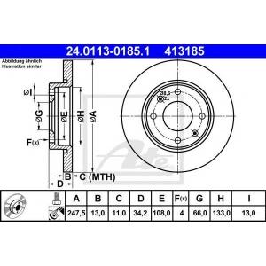 ATE 24.0113-0185.1 Тормозной диск Ситроен Ксара