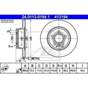 ATE 24.0113-0194.1 Тормозной диск Форд Галакси
