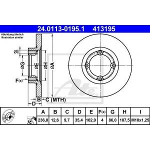 ATE 24.0113-0195.1 Тормозной диск Дэу Матиз