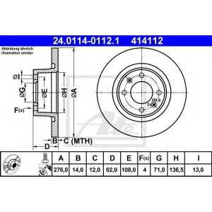 ATE 24.0114-0112.1 Тормозной диск Ситроен С5 Брейк