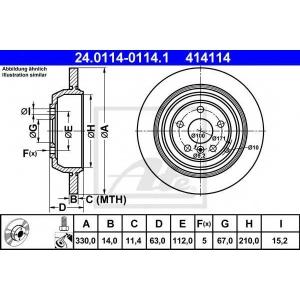 ATE 24.0114-0114.1 Тормозной диск Мерседес Р-Класс
