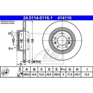 ATE 24.0114-0116.1 Тормозной диск Ситроен Джампи