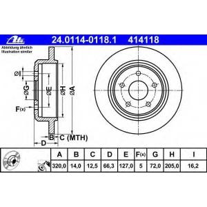 ATE 24.0114-0118.1 Тормозной диск Джип Коммандер