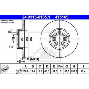 ATE 24.0115-0105.1 Тормозной диск Ауди А6