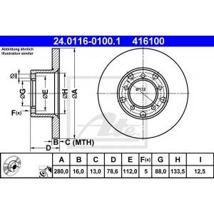 ATE 24.0116-0100.1 Тормозной диск Мерседес