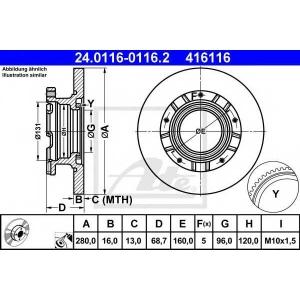 ATE 24.0116-0116.2 Тормозной диск Форд Транзит Торнео