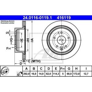 ATE 24.0116-0119.1 Тормозной диск Рено Колеос