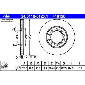 ATE 24.0116-0126.1 Диск тормозной зад Ford Transit V347 06- RWD