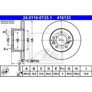 ATE 24.0116-0133.1 Тормозной диск Мерседес Джи-Класс