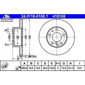 ATE 24.0118-0108.1 Тормозной диск Фиат Дукато