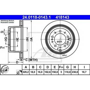ATE 24.0118-0143.1 Тормозной диск Лексус Л-Икс