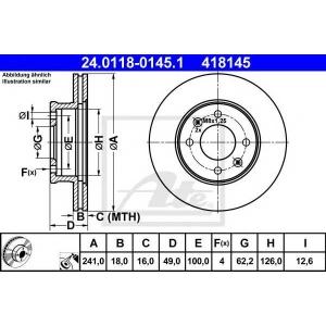 ATE 24.0118-0145.1 Тормозной диск Киа Пиканто