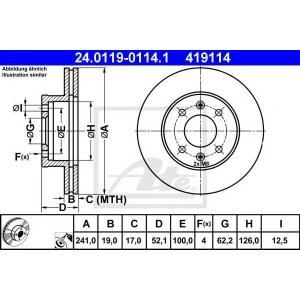 ATE 24.0119-0114.1 Тормозной диск Хюндай Акцент