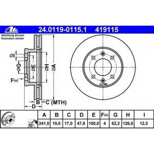 ATE 24.0119-0115.1 Тормозной диск Хюндай Гетз