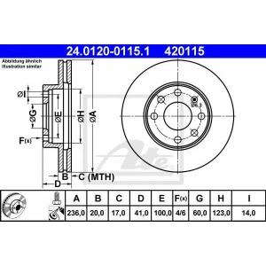 ATE 24.0120-0115.1 Тормозной диск Опель Аскона