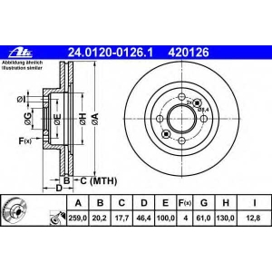 ATE 24.0120-0126.1 Тормозной диск Рено 25