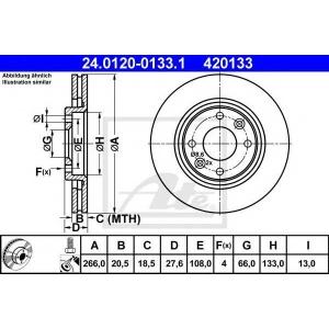 ATE 24.0120-0133.1 Тормозной диск Ситроен Ксара Пикасо