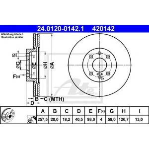ATE 24.0120-0142.1 Тормозной диск Фиат Барчетта