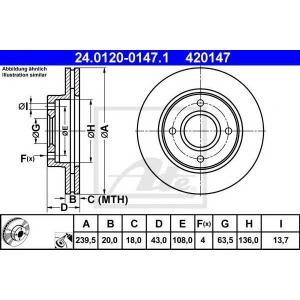 ATE 24.0120-0147.1 Тормозной диск Форд Орион