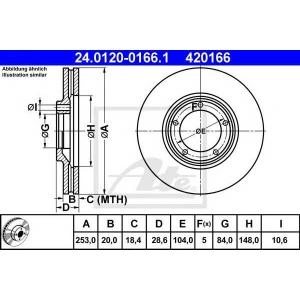 ATE 24.0120-0166.1 Тормозной диск Хюндай Н100