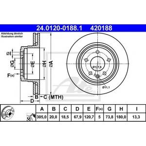 ATE 24.0120-0188.1 Тормозной диск Ягуар
