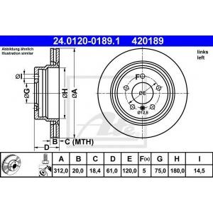 ATE 24.0120-0189.1 Тормозной диск Бмв З3