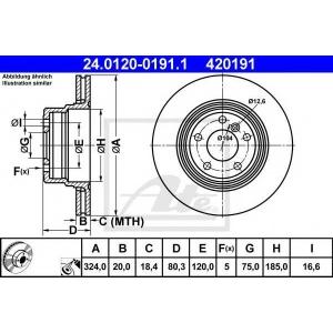 ATE 24.0120-0191.1 Тормозной диск Бмв Х5