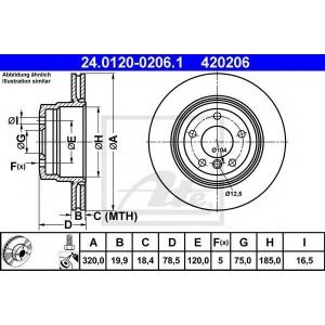 ATE 24.0120-0206.1 Тормозной диск Бмв Х5