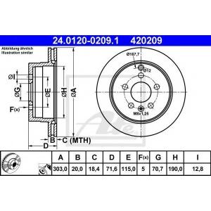 ATE 24.0120-0209.1 Тормозной диск Шевроле Каптива