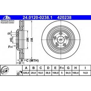 ATE 24.0120-0238.1 Тормозной диск Ягуар С Тайп