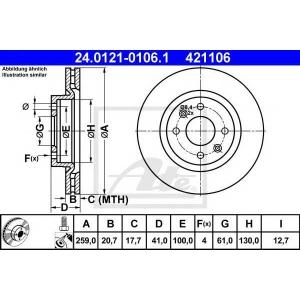 ATE 24.0121-0106.1 Тормозной диск Дача Сандеро