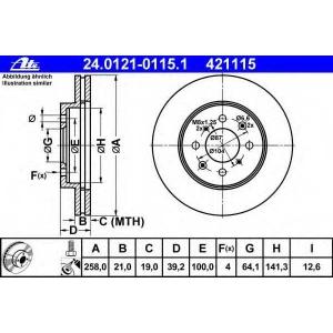 ATE 24.0121-0115.1 Тормозной диск Хонда Джаз