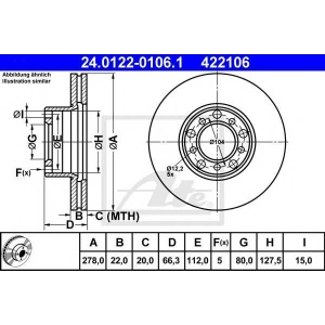 ATE 24.0122-0106.1 Тормозной диск Мерседес Сл