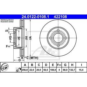 ATE 24.0122-0108.1 Тормозной диск Ауди 80