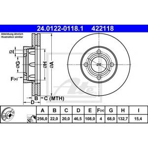ATE 24.0122-0118.1 Тормозной диск Ауди 90