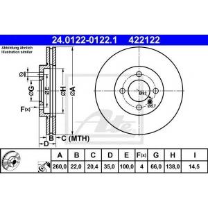 ATE 24.0122-0122.1 Тормозной диск Бмв З1