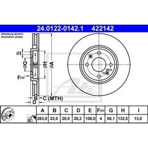 ATE 24.0122-0142.1 Тормозной диск Ситроен Зх