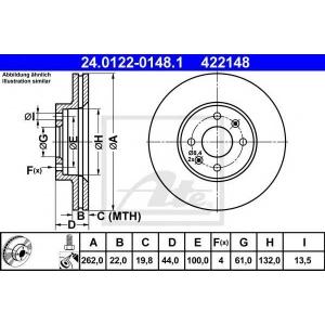 ATE 24.0122-0148.1 Тормозной диск Рено Меган