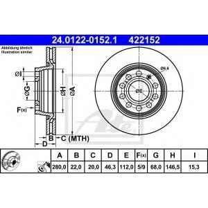 ATE 24.0122-0152.1 Тормозной диск Ауди А8