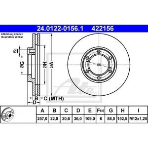 ATE 24.0122-0156.1 Тормозной диск Исузу Трупер