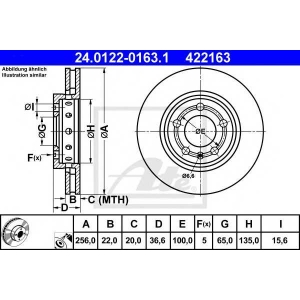 ATE 24.0122-0163.1 Тормозной диск Ауди Тт