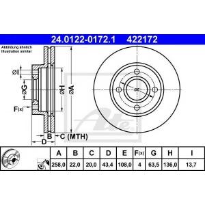 ATE 24.0122-0172.1 Тормозной диск Форд Фьюжн