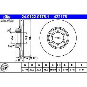 ATE 24.0122-0175.1 Тормозной диск Митсубиси Л 300