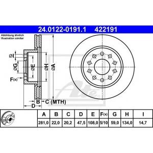 ATE 24.0122-0191.1 Тормозной диск Лансия