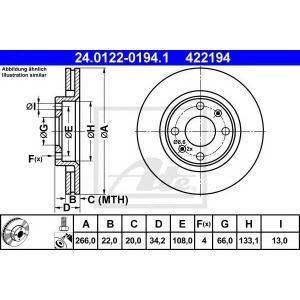 ATE 24.0122-0194.1 Тормозной диск Ситроен С4