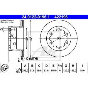 ATE 24.0122-0196.1 Тормозной диск Мерседес Спринтер 4Т
